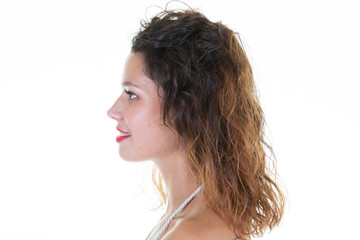 pretty profile girl on white background