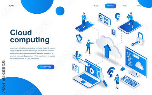 Modern isometric design concept of Cloud Technology for website and