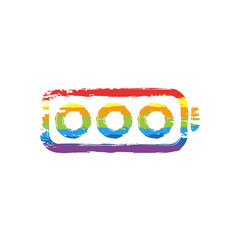 Simple empty battery, none level. Drawing sign with LGBT style, seven colors of rainbow (red, orange, yellow, green, blue, indigo, violet
