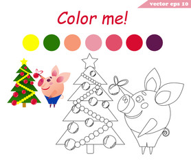 coloring book with pig decorating tree