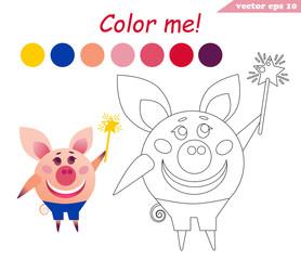 coloring book with pig holding magic stick