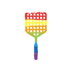 Fly swatter icon. Drawing sign with LGBT style, seven colors of rainbow (red, orange, yellow, green, blue, indigo, violet