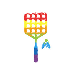 Fly swatter and insect. Simple icon. Drawing sign with LGBT style, seven colors of rainbow (red, orange, yellow, green, blue, indigo, violet