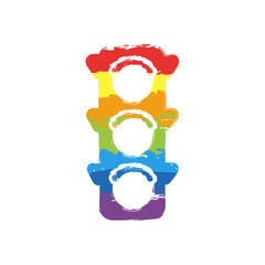 Traffic light icon. Drawing sign with LGBT style, seven colors of rainbow (red, orange, yellow, green, blue, indigo, violet