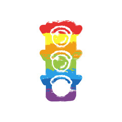 Traffic light icon. Sign of walk, green or go. Drawing sign with LGBT style, seven colors of rainbow (red, orange, yellow, green, blue, indigo, violet