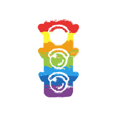 Traffic light icon. Sign of stop, red or stand. Drawing sign with LGBT style, seven colors of rainbow (red, orange, yellow, green, blue, indigo, violet