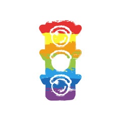 Traffic light icon. Sign of wait, yellow or ready. Drawing sign with LGBT style, seven colors of rainbow (red, orange, yellow, green, blue, indigo, violet