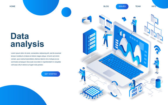 Modern isometric design concept of Big Data Analysis for website and mobile website development. Isometric landing page template. Digital information chart and statistic. Vector illustration.