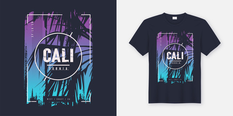 California graphic tee vector design with palm tree silhouette.