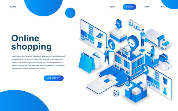 Modern isometric design concept of Online Shopping for website and mobile website development. Isometric landing page template. E-commerce market, shopping payment. Vector illustration.