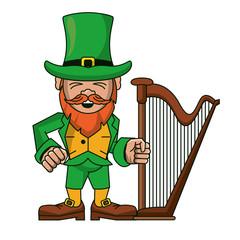 Irish elf with harp cartoon