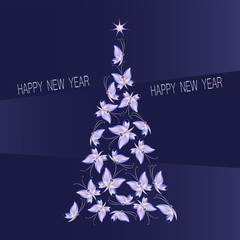 Christmas tree made of butterflies on a dark purple-blue background. Greetings Merry Christmas and Happy New year. Design for holiday cards, banner, poster, flyers.