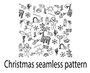 Christmas seamless pattern deer doodle cookies hearts gifts line