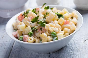 Homemade macaroni salad with vegetables
