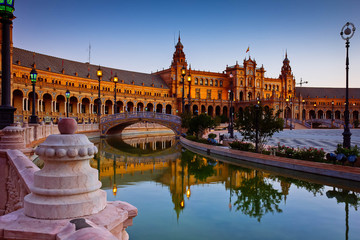 view of Square of Spain at night, Sevilla, Andalusia, Spain, toned