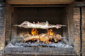 Whole roasted lambs on the rack in a Croatian restaurant