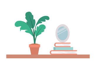 shelf with houseplant and portrait