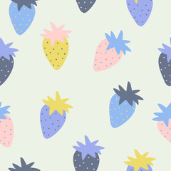 Seamless pattern with strawberry in sketch style.