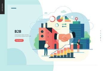 Business series, color 1 - b2b. business to business - modern flat vector illustration concept of b2b - a factory and a corporate buildings shaking their hands. Creative landing page design template