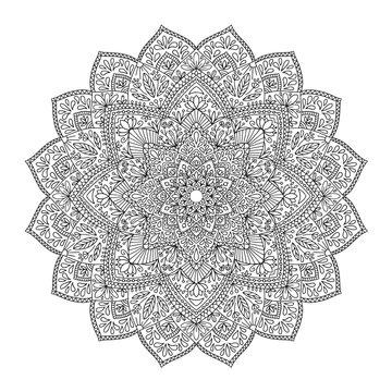 Black indian mandala on white background. Decorative flower drawing for meditation coloring book. Ethnic floral design element, round hand drawn illustration, line art.