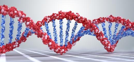 Close up view on spiral DNA molecules. 3D rendered illustration.