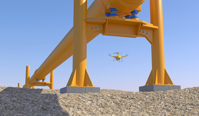 3D illustration of a UAV drone in flight inspecting an oil/gas pipeline on rocky ground. Fictitious UAV, motion blur and depth-of-field for dramatic effect. Wall mural