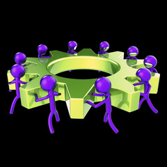 teamwork gearwheel business process characters cogwheel abstract green purple. people team work turning gear wheel together. partnership, HR cooperation icon. 3d illustration, isolated on black