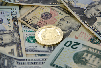 Dogecoin crypto currency coin and dollars