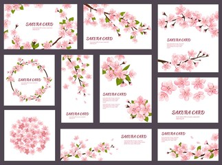 Sakura vector blossom cherry greeting cards with spring pink blooming flowers illustration japanese set of wedding invitation flowering template decoration isolated on white background Wall mural