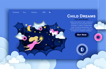 Vector web site paper art design template. Child touching the stars in the sky. Kids dream. Landing page illustration concepts for website and mobile development. Paper cut origami style.