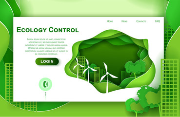 Vector web site paper art design template for eco city concept. Green town with wind power turbines. Landing page illustration for website and mobile development. Paper cut origami style.