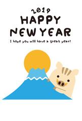 年賀状2019 ひょっこり猪 亥 かわいい 年賀状テンプレート
