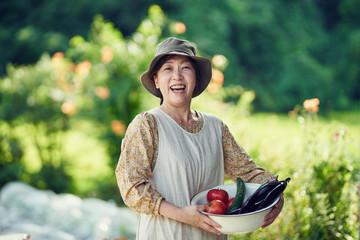 家庭菜園で採れた野菜を持つ女性