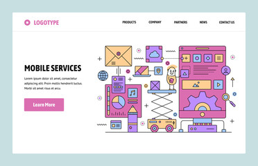 Vector web site linear art design template. Mobile phone services and smartphone applications. Landing page concepts for website and mobile development. Modern flat illustration.
