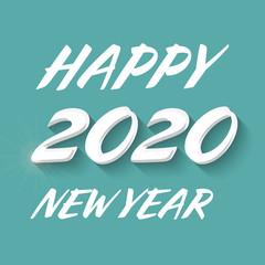 Happy New year 2020 banner with handwritten text