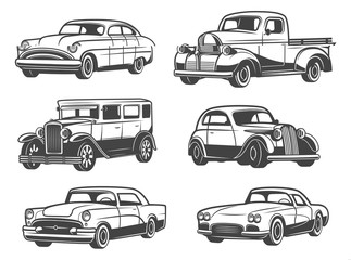 Retro cars and vehicles vintage, vector