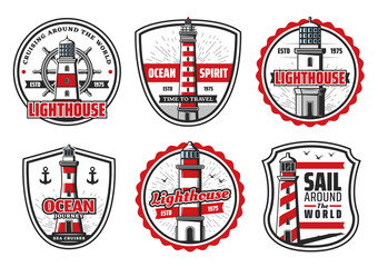Vector icons of sea or ocean lighthouse
