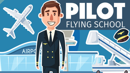 Pilot professional flying school vector poster