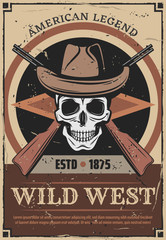 American Wild West skull and guns retro poster