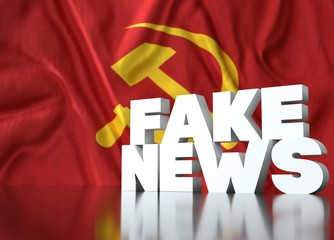 3d render, fake news lettering in front of Realistic Wavy Flag of communist.