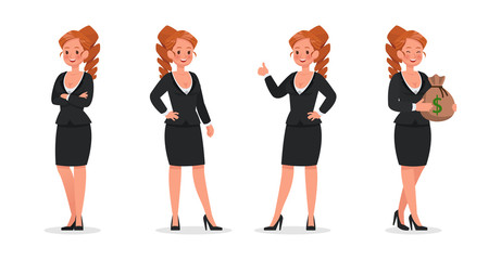 set of business woman working in office character vector design no13