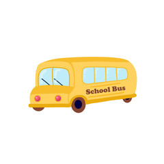 Illustration of school kids riding yellow schoolbus transportation education