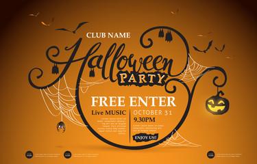 Happy Halloween banners party invitation.Vector illustration .