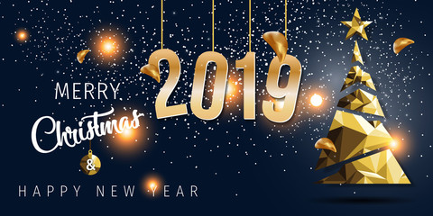 New Years 2019. Happy New Year greeting card. 2019 Happy New Year background.
