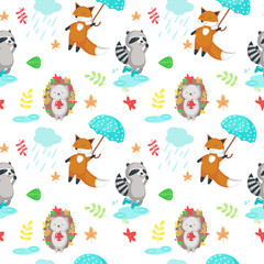 Vector seamless pattern with cute autumn animals