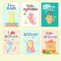 Autumn cute cat icon set, vector illustration