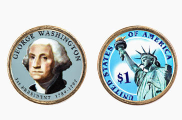 George Washington Presidential Dollar, USA coin a portrait image of GEORGE WASHINGTON 1 th PRESIDENT 1789-1797, $1 United Staten of Amekica, Close Up UNC Uncirculated - Collection.