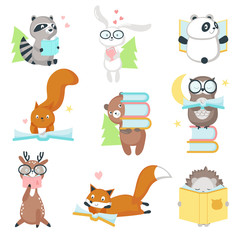 Cute wild animals reading books vector icon set