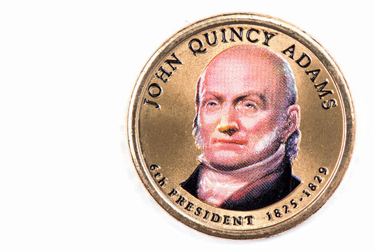 John Quincy Adams Presidential Dollar, USA coin a portrait image of JOHN QUINCY ADAMS 6th PRESIDENT 1825 -1829 on $1 United Staten of Amekica, Close Up UNC Uncirculated - Collection