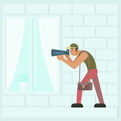 Vector flat illustration of paparazzi taking photo